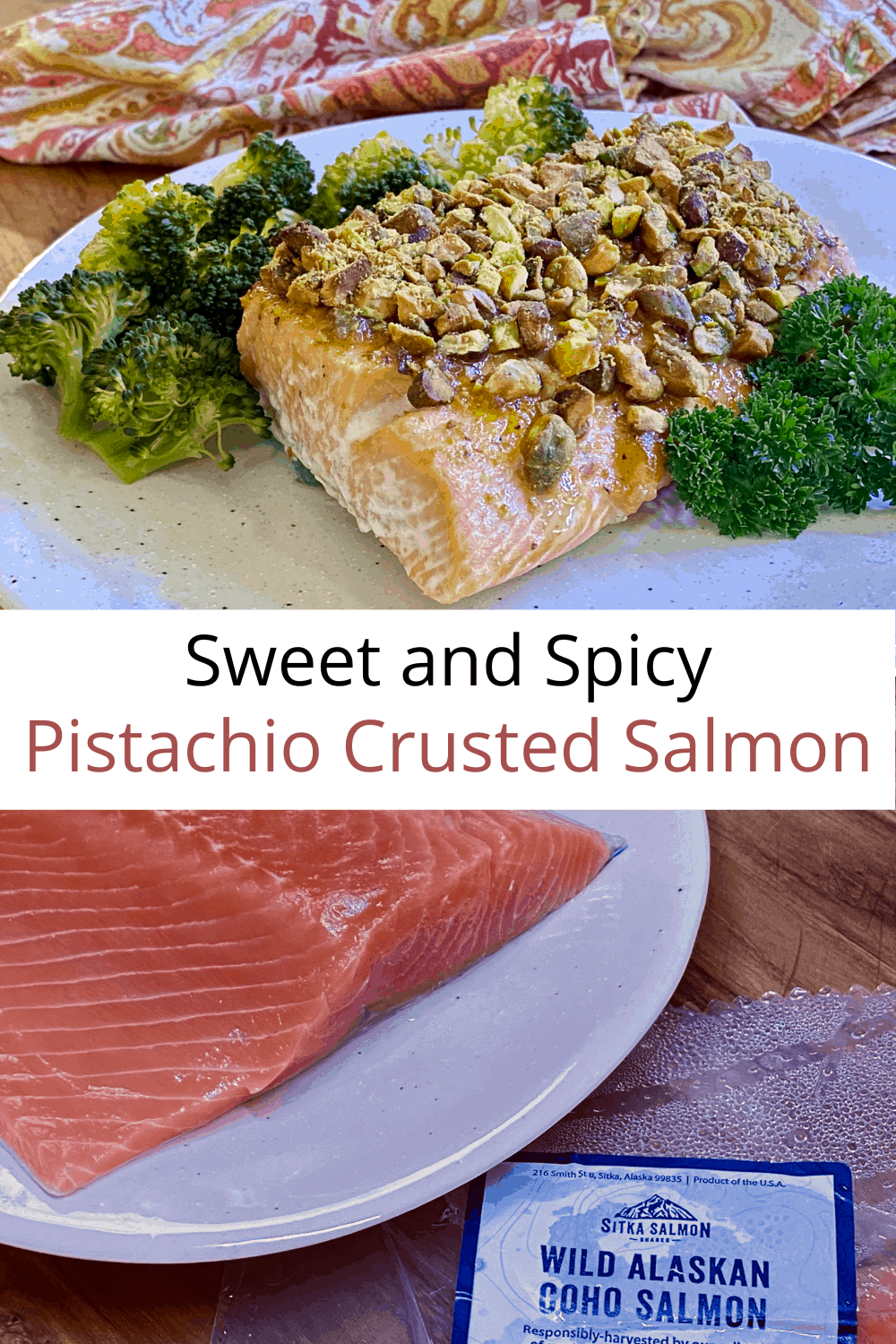 collage of sitka salmon and pecan crusted salmon