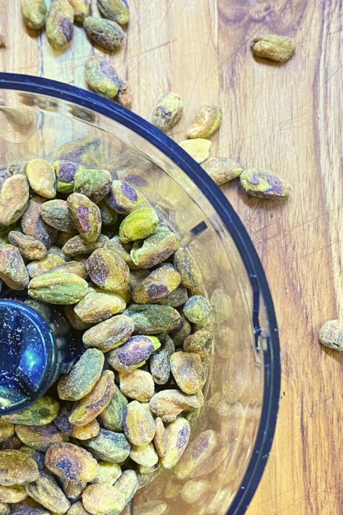 pistachios in a small food processor for chopping