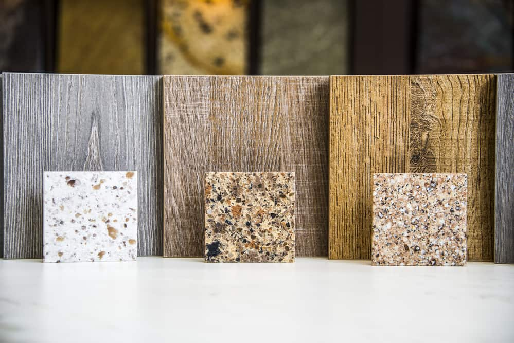 sustainable material samples for kitchen remodel