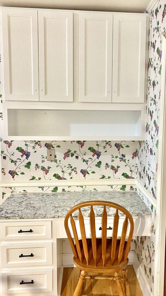Refaced kitchen cabinets over desk in kitchen
