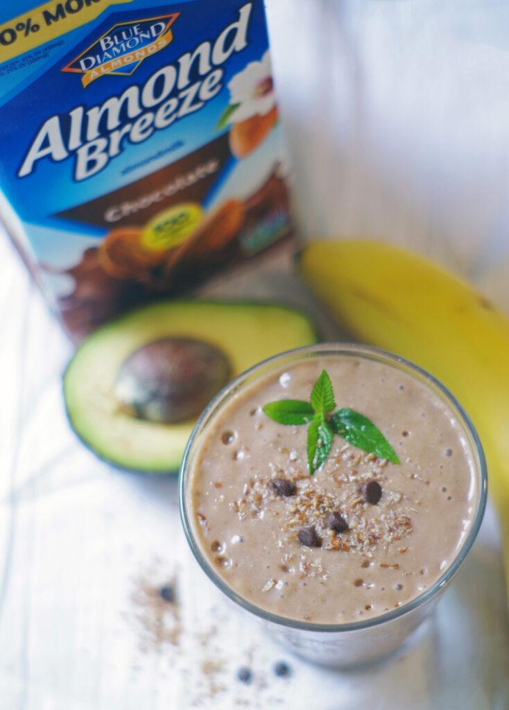 Almondbreeze chocolate almond milk and avocado smoothie with banana