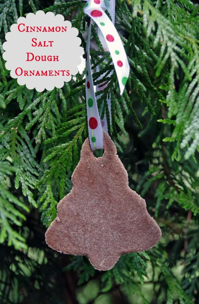 cinnamon salt dough ornament hanging on tree